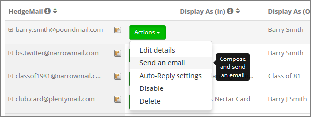 03 Actions, select Send an email